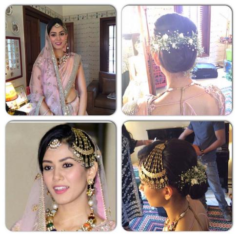 Mira makeup and hairstyle close up look post wedding appearance in Anamika Khanna pink lehenga | Shahid Kapoor Mira Rajput wedding 2015