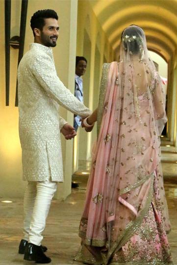 Mira Rajput lehenga from the back   best way to drape 2 dupattas with lehenga   Shahid Kapoor Mira Rajput wedding