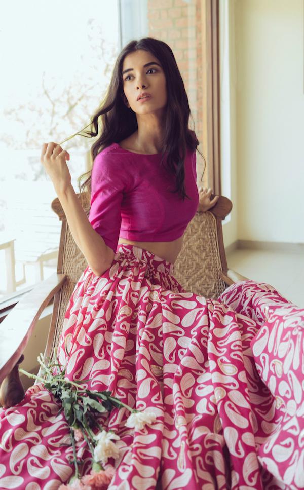 Mogra - Pink Paisley Lehenga 2 - Mehendi Outfits - Buy online under 25K