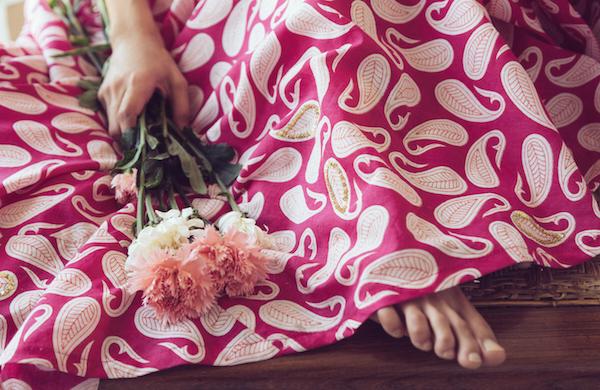Mogra - Pink Paisley Lehenga closeup - Mehendi Outfits - Buy online under 25K