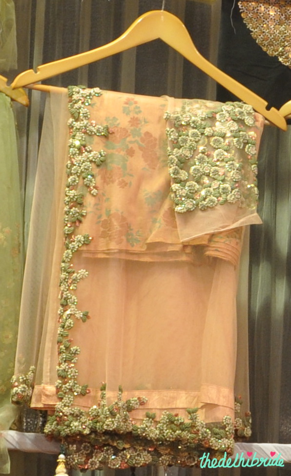 Peach fabric with beautiful embroidery - Tassels - Best of Wedding Asia Delhi 2015
