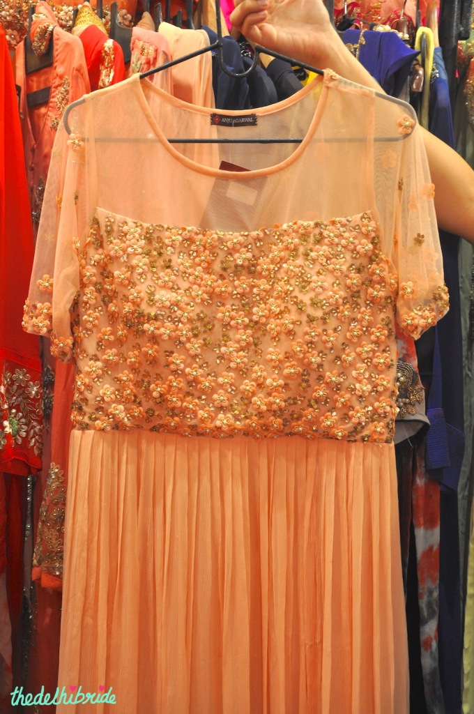 Peach gown with floral work - Anju Agarwal Kolkata - Best of Wedding Asia Delhi 2015