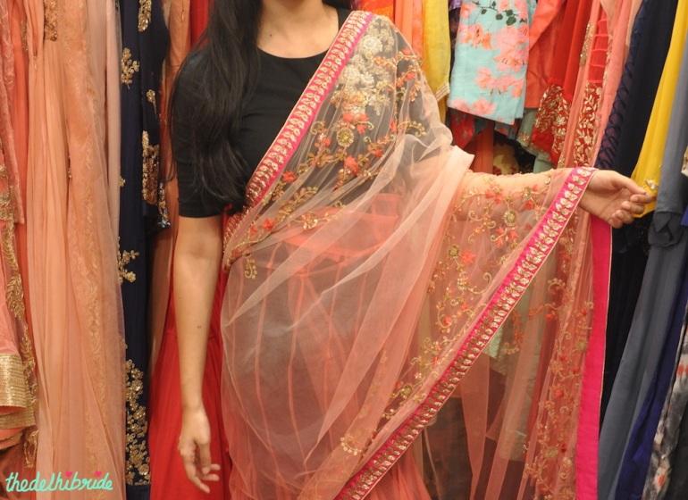 Pink drape saree - Anju Agarwal Kolkata - Best of Wedding Asia Delhi 2015