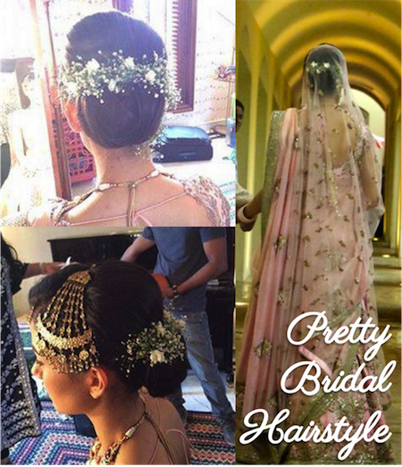 Pretty bridal bun for modern bride with flower arrangements in hair | Mira Rajput Shahid Kapoor wedding