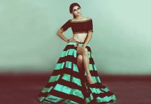 Priyal Prakash winter festive 2015 collection sneak peek green and black lehenga with stripes