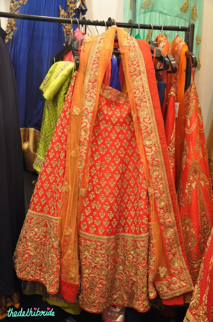 Red and orange lehenga with heavy work - Mahima Madaan - Best of Wedding Asia Delhi 2015