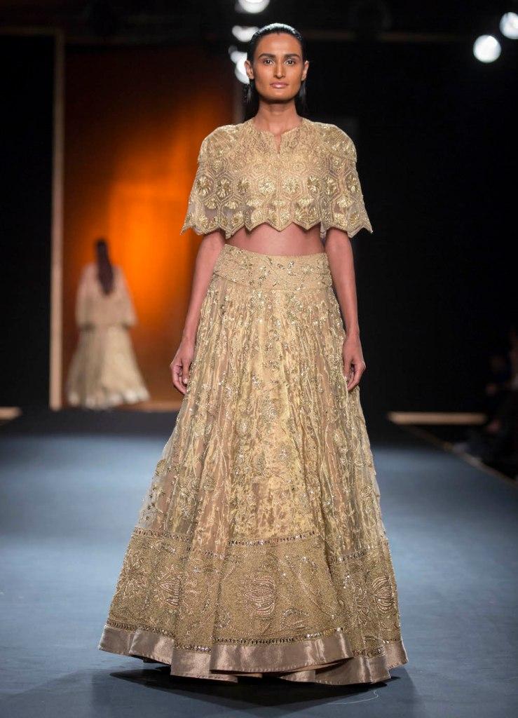 Top Picks Hand Embroidered Gold Benarasi Lehenga with Hand Embroidered Cape 1 - Rahul Mishra - Amazon India Couture Week 2015