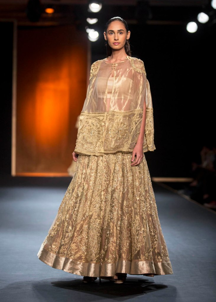 Top Picks Hand Embroidered Gold Benarasi Lehenga with Long Hand Embroidered Cape - Rahul Mishra - Amazon India Couture Week 2015