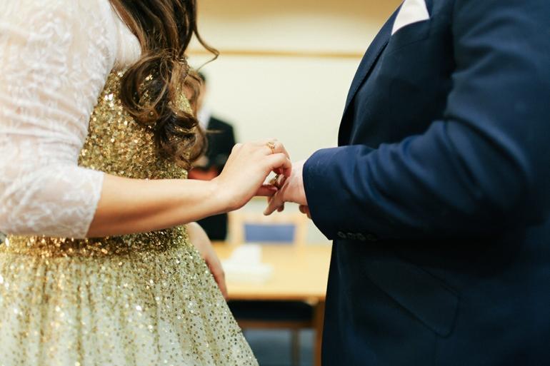 Wedding Ceremony at Registry 3 exchanging rings   Anushka Hajela Wedding Wardrobe