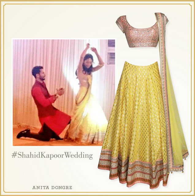 what mira wore to her Sangeet - yellow Anita Dongre lehenga - Shahid Kapoor Mira Rajput Wedding