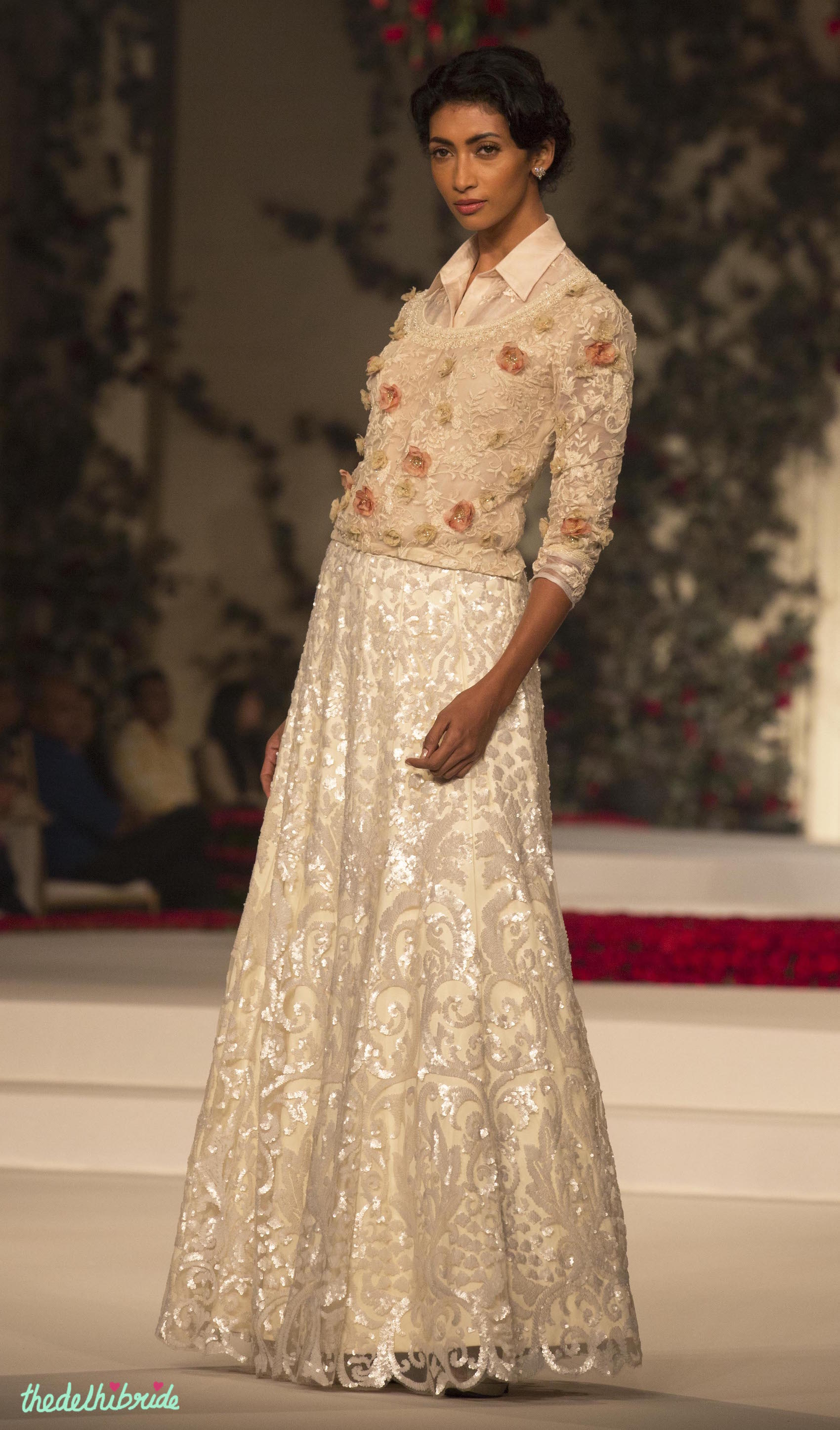 a2d7606f42 Ivory Sequin Skirt and Peach Shirt with Small Floral Motifs and Applique  layer - Varun Bahl