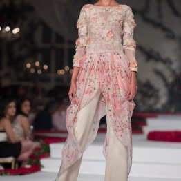 Floral Chiffon Top with Floral Appliques and White Pants - Varun Bahl - Amazon India Couture Week 2015