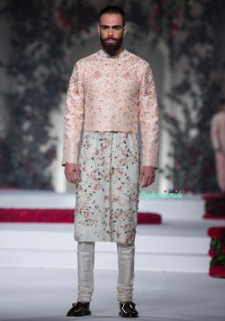Pale Blue Kurta with Floral Motifs _ Pale Pink Short Jacket for Men - Varun Bahl - Amazon India Couture Week 2015