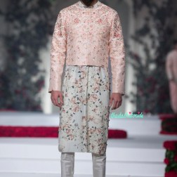 Pale Blue Kurta with Floral Motifs _ Pale Pink Short Jacket for Men - Varun Bahl - Amazon India Couture Week 2015