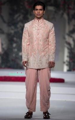 Baby pink Sherwani style Bandhgala for Men with Dhoti Pants - Varun Bahl - Amazon India Couture Week 2015