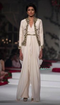 Chiffon Cream Long Kurta, Short Jacket with Hand Embroidered Rose Motifs _ Pants - Varun Bahl - Amazon India Couture Week 2015