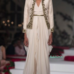 Chiffon Cream Long Kurta, Short Jacket with Hand Embroidered Rose Motifs _ Pants - Varun Bahl - Amazon India Couture Week 2015