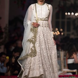Embroidered ivory and gold border Anarkali with Tulle Skirt - Varun Bahl - Amazon India Couture Week 2015