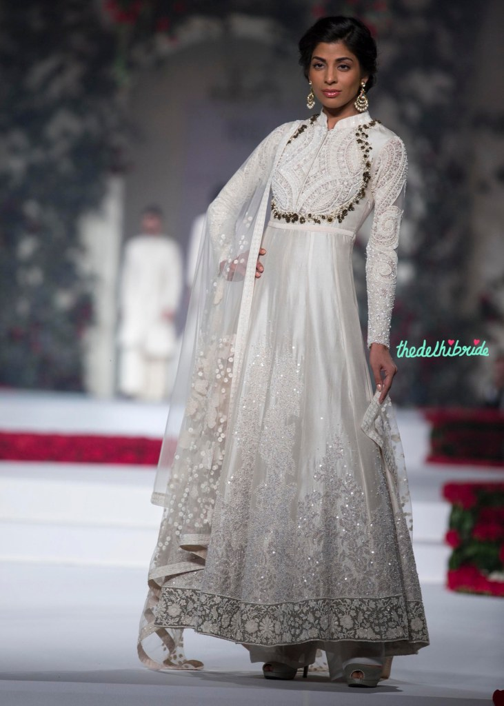 19. Ivory Duchess Satin Embroidered with Sequins and pearls Anarkali with Pants and embroidered net dupatta 1 - Varun Bahl - Amazon India Couture Week 2015