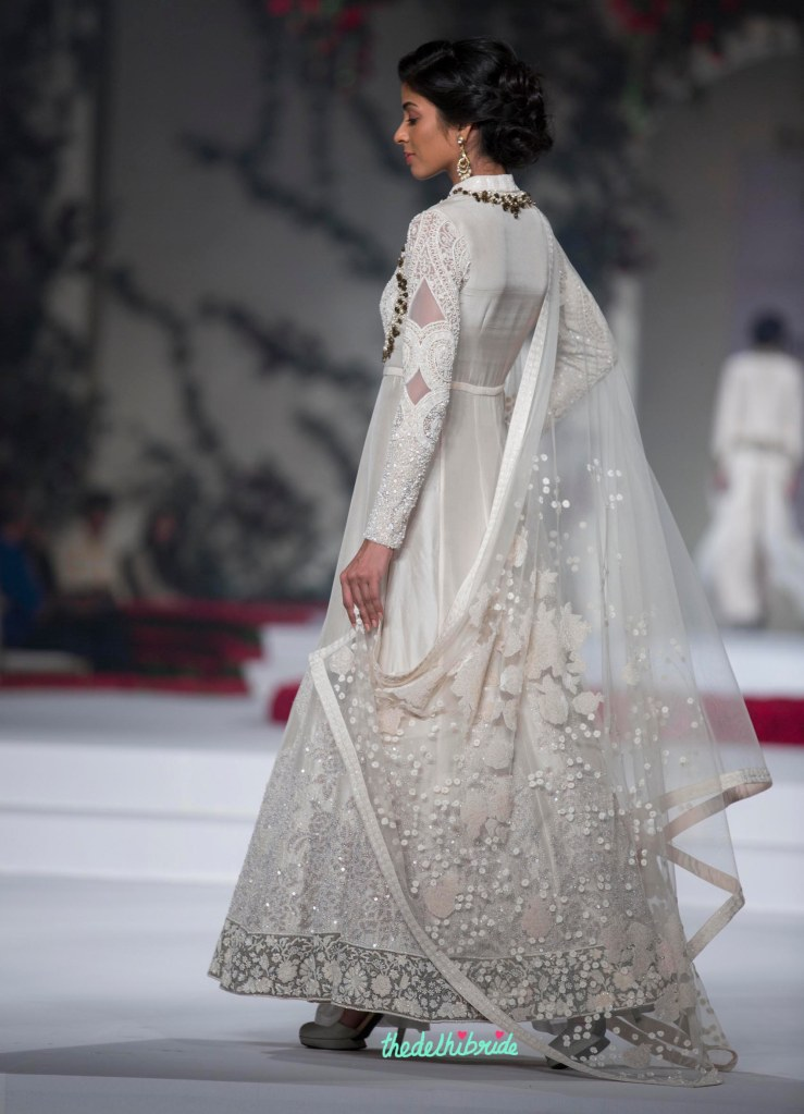 19. Ivory Duchess Satin Embroidered with Sequins and pearls Anarkali with Pants and embroidered net dupatta 2 - Varun Bahl - Amazon India Couture Week 2015