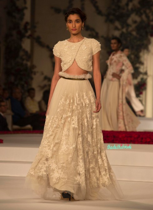 2. Cream Coloured Handcrafted Tulle Skirt with Crop Top 1 - Varun Bahl - Amazon India Couture Week 2015