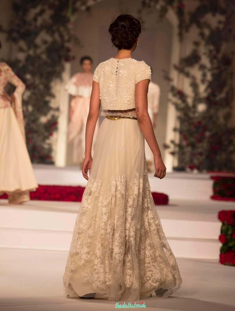 2.Cream Coloured Handcrafted Tulle Skirt with Crop Top 1 - Varun Bahl - Amazon India Couture Week 2015 .jpg