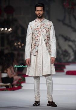 Ivory Hand Embroidered Kurta with Floral Jaipuri Jacket and Churidaar Pants - Varun Bahl - Amazon India Couture Week 2015