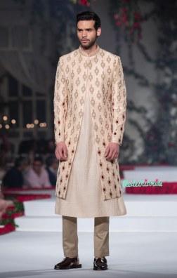 Cream Kurta and Pyjama for Men with Hand Embroidered Sherwani Jacket - Varun Bahl - Amazon India Couture Week 2015