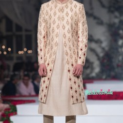 Cream Kurta and Pyjama for Men with Hand Embroidered Sherwani Jacket - Varun Bahl - Amazon India Couture Week 2015