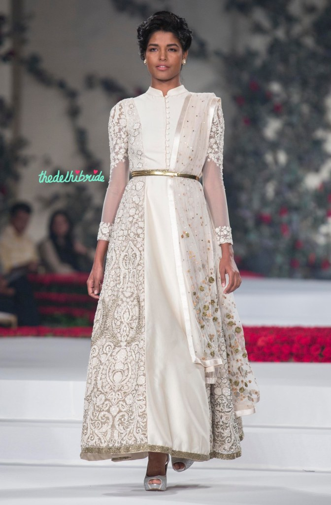 23. Ivory Anarkali Suit with Hand Embroidered Floral Motifs _ Gold Belt 1 - Varun Bahl - Amazon India Couture Week 2015