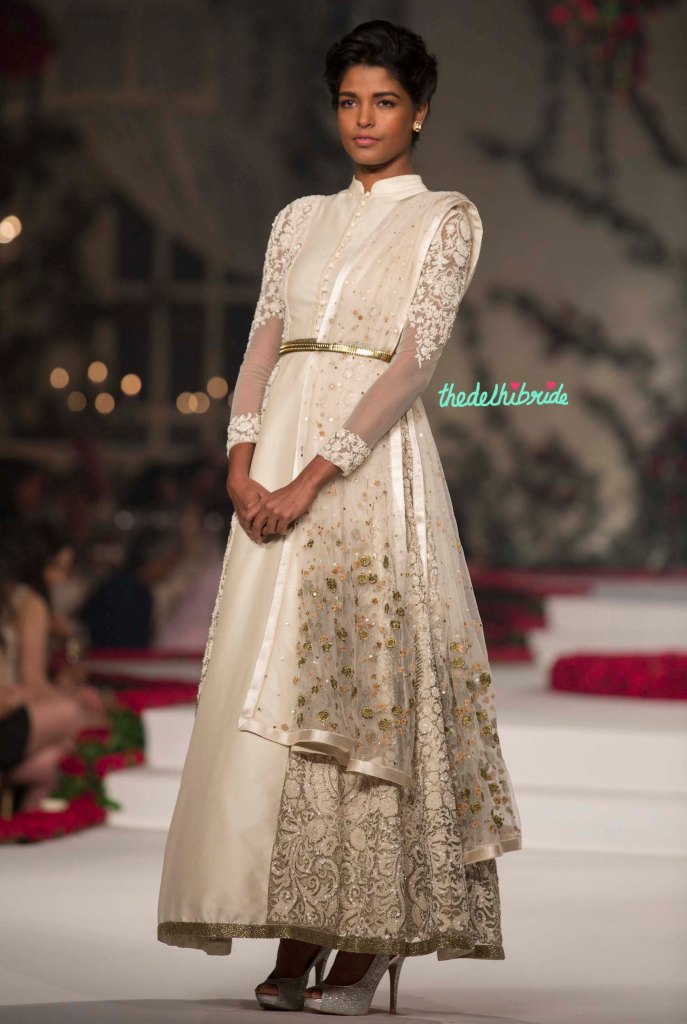 23. Ivory Anarkali Suit with Hand Embroidered Floral Motifs _ Gold Belt 2 - Varun Bahl - Amazon India Couture Week 2015