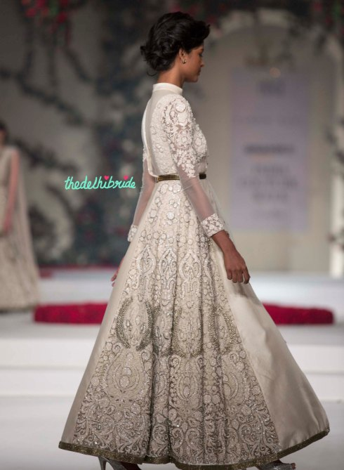 23. Ivory Anarkali Suit with Hand Embroidered Floral Motifs _ Gold Belt 3 - Varun Bahl - Amazon India Couture Week 2015
