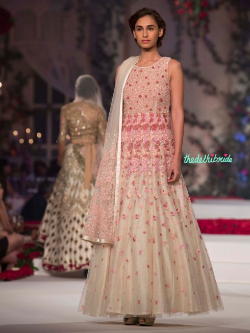 26. Tulle Ivory Anarkali with Pink Floral Hand Embroidery - Varun Bahl - Amazon India Couture Week 2015