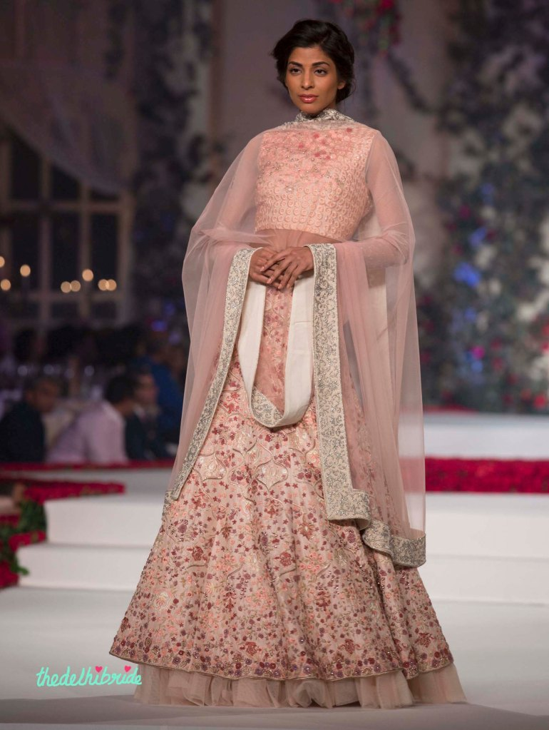 27. Pale Pink Hand Embroidered Floral Lehenga _ Blouse with Floral Embroidery - Varun Bahl - Amazon India Couture Week 2015