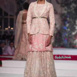 White Floral Lehenga with Baby Pink Hand Embroidered Kurta _ Heavily embroidered floral jacket - Varun Bahl - Amazon India Couture Week 2015
