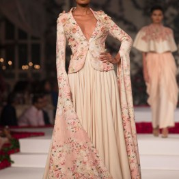 Pale Pink Pleated Maxi Skirt and Pale Pink floral short blazer with applique work - Varun Bahl - Amazon India Couture Week 2015 pic - Varun Bahl - Amazon India Couture Week 2015