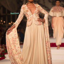 Pale Pink Pleated Maxi Skirt and Pale Pink floral short blazer with applique work - Varun Bahl - Amazon India Couture Week 2015