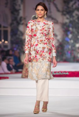 Pale Blue Kurta with Gold _ Silver Embroidery, Long top with Floral Embroidered Motifs _ White Pants 1 - Varun Bahl - Amazon India Couture Week 2015