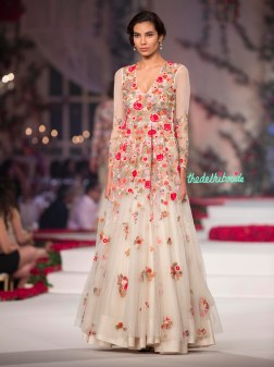 Ivory Anarkali with Red _ Orange Embroidered Floral Motifs - Varun Bahl - Amazon India Couture Week 2015