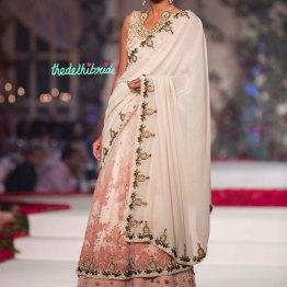 Ivory and baby pink lehenga sari with ivory pallu - Varun Bahl - Amazon India Couture Week 2015