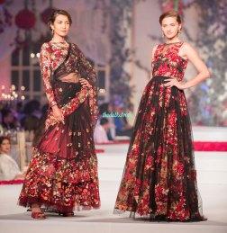 Black and red lehenga sari and anarkali gown - Varun Bahl - Amazon India Couture Week 2015