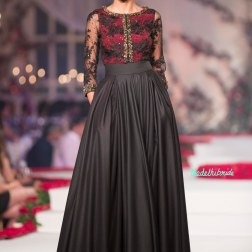 Black anarkali gown with Sheer Red and Black Yoke with Embroidered Floral Motifs - Varun Bahl - Amazon India Couture Week 2015