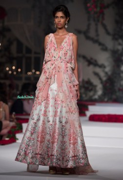 Floral Poppy Pink Printed Maxi Dress - Varun Bahl - Amazon India Couture Week 2015