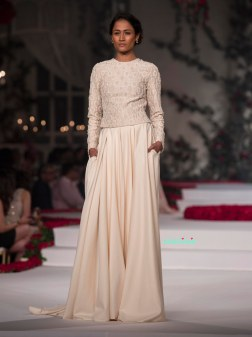 Ivory full sleeve blouse with pearls and embroidery with Ivory Satin Silk Floor length Skirt - Varun Bahl - Amazon India Couture Week 2015