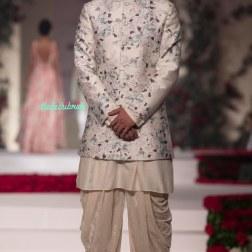 Ivory Floral Print Sherwani style Bandhgala with Dhoti Pants - Varun Bahl - Amazon India Couture Week 2015