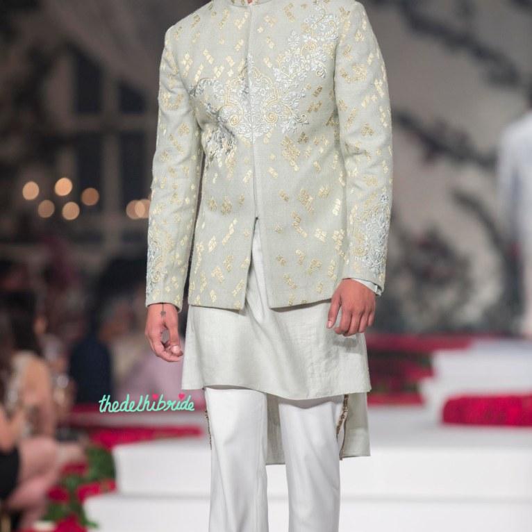 Pale Blue Hand Embroidered short sherwani style bandhgala with Kurta _ Pyjama - Varun Bahl - Amazon India Couture Week 2015