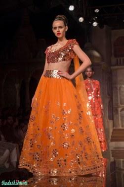 Abu Jani Sandeep Khosla - Gold Gota Blouse and Orange Lehenga with Floral Gota Work - BMW India Bridal Fashion Week 2015