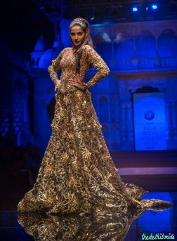 Abu Jani Sandeep Khosla - Heavily Embroidered Black Gown with Gold Work - Sonam Kapoor - BMW India Bridal Fashion Week 2015