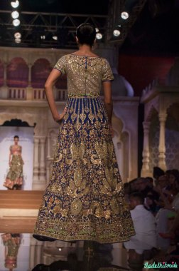 Abu Jani Sandeep Khosla - Heavily Embroidered Dual Toned Green and Blue Anarkali Gown Back - BMW India Bridal Fashion Week 2015