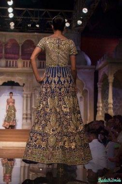 Abu Jani Sandeep Khosla - Heavily Embroidered Dual Toned Green and Blue Anarkali Gown Back - BMW India Bridal Fashion Week 2015